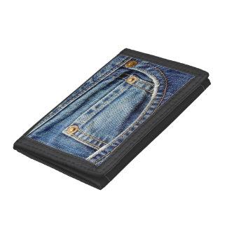 Denim blue jeans tatty old pocket wallet