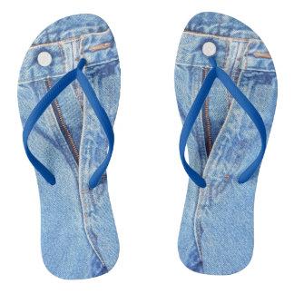 Denim blue jeans zipper flip flops
