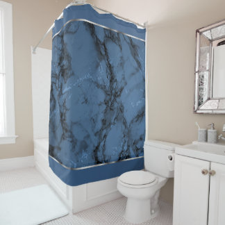 Denim Blue Marble with Silver Accents