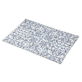 Denim Blue Ornate Design Placemat
