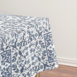 Denim Blue Ornate Design Tablecloth