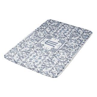 Denim Blue Ornate Monogram Bath Mat