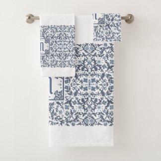 Denim Blue Ornate Monogram Bath Towel Set