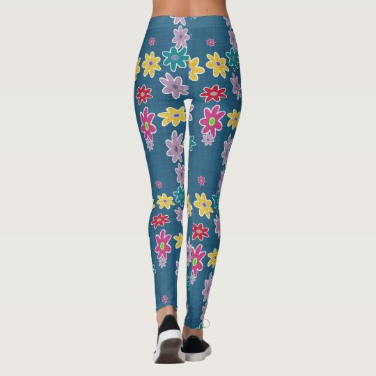 Denim Blue w/Retro Flowers Leggings