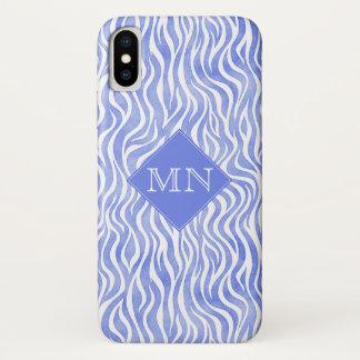 Denim Blue Watercolor Zebra Pattern | Monogram iPhone X Case