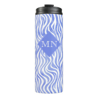 Denim Blue Watercolor Zebra Pattern | Monogram Thermal Tumbler
