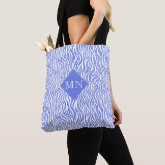 Denim Blue Watercolor Zebra Pattern | Monogram Tote Bag