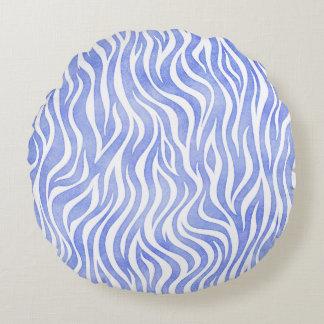 Denim Blue Watercolor Zebra Pattern Round Pillow