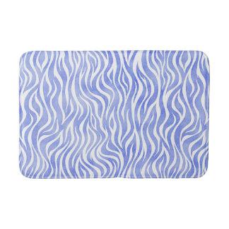Denim Blue Watercolor Zebra Print Bath Mat