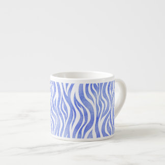 Denim Blue Watercolor Zebra Print Espresso Cup