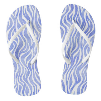 Denim Blue Watercolor Zebra Print Flip Flops
