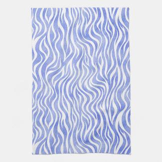 Denim Blue Watercolor Zebra Print Kitchen Towel