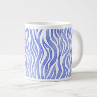 Denim Blue Watercolor Zebra Print Large Coffee Mug