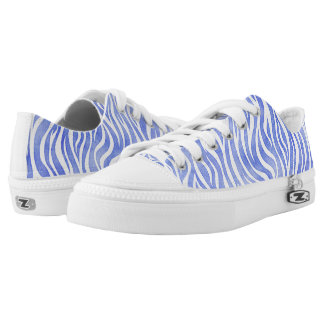 Denim Blue Watercolor Zebra Print Low-Top Sneakers