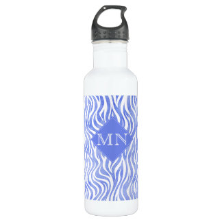 Denim Blue Watercolor Zebra Print | Monogram 710 Ml Water Bottle