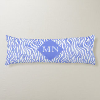 Denim Blue Watercolor Zebra Print | Monogram Body Pillow