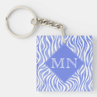 Denim Blue Watercolor Zebra Print | Monogram Keychain