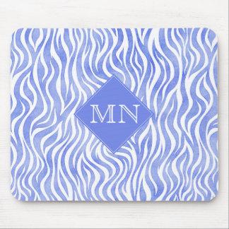 Denim Blue Watercolor Zebra Print | Monogram Mouse Pad