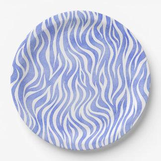 Denim Blue Watercolor Zebra Print Paper Plate