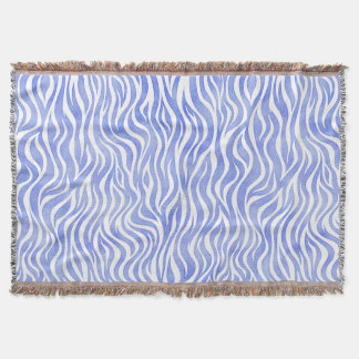 Denim Blue Watercolor Zebra Print Throw Blanket