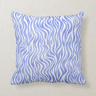 Denim Blue Watercolor Zebra Print Throw Pillow
