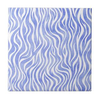 Denim Blue Watercolor Zebra Print Tile