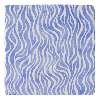 Denim Blue Watercolor Zebra Print Trivet