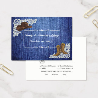 Denim Boots & Lace Wedding RSVP Card