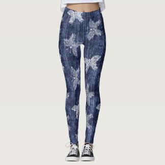 Denim butterfly pattern Leggings