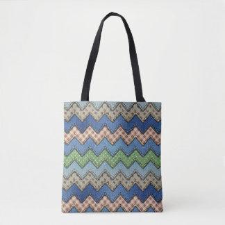 Denim Chevron All-Over-Print Tote Bag