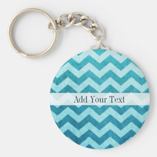Denim Chevron by Shirley Taylor Basic Round Button Keychain