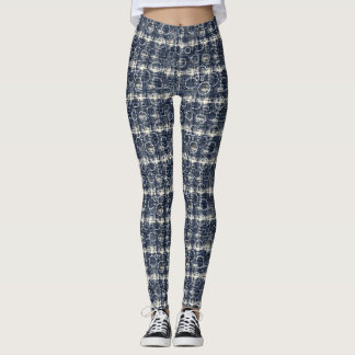 Denim circles and check pattern Leggings
