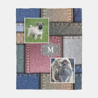 Denim Colorful Patches Add Photo Monogram Fleece Blanket