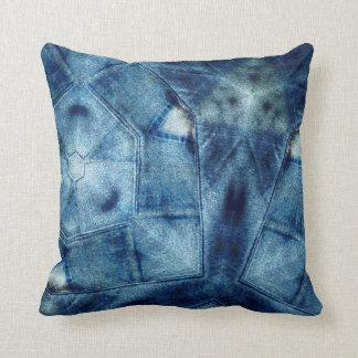 Denim Crazy Quilt Throw Pillow