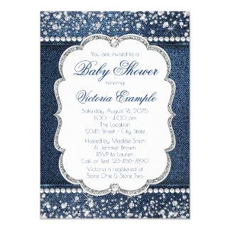 Denim Diamond Baby Shower Invitations
