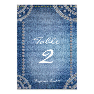 "Denim & Diamonds Birthday Party Table Number Card 3.5"" X 5"" Invitation Card"