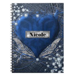 Denim & Diamonds Blue Heart Custom Personalized Note Book