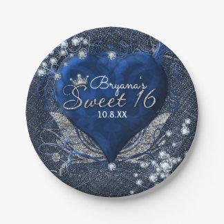 Denim & Diamonds Blue Heart Sweet 16 Party Paper Plate