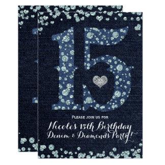 Denim & Diamonds Fifteen 15 15th Birthday Party Card