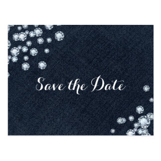 Denim & Diamonds  Glam Party Save the Date Postcard