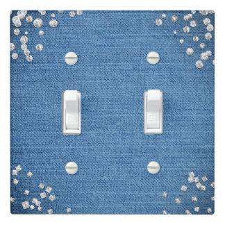 Denim & Diamonds Glam Scattered Bling Bedroom Light Switch Cover