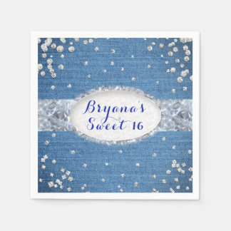 Denim & Diamonds Glam Scattered Bling Party Paper Napkin