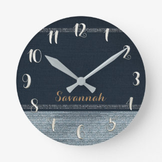 Denim & Diamonds Glam Sequins Glitter Personalized Round Clock