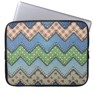 Denim fabric pattern laptop sleeve