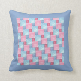 Denim Faux Patchwork, Pinks, Blues Throw Pillow