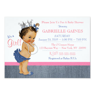 Denim Girl Baby Shower Invitation Personalized