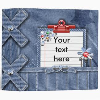 denim girly notes journal binder