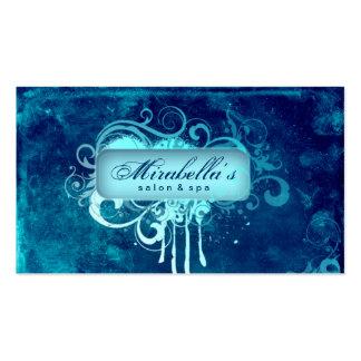 Denim grunge de bleu de spa de salon de fleur de carte de visite standard