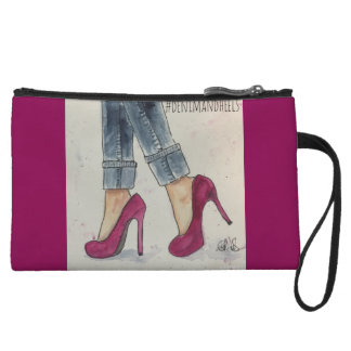 Denim & Heels Watercolor Design Mini Clutch Wristlet Purses