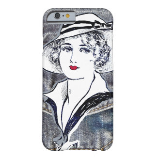 Denim/jean design & vintage ladies fashion print barely there iPhone 6 case